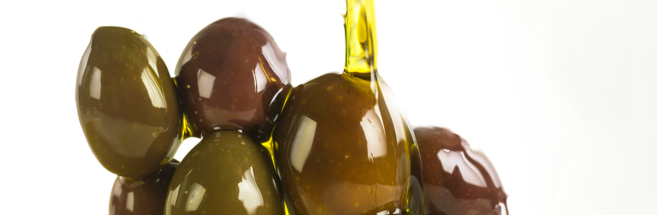 Virgin olive oil and green olives